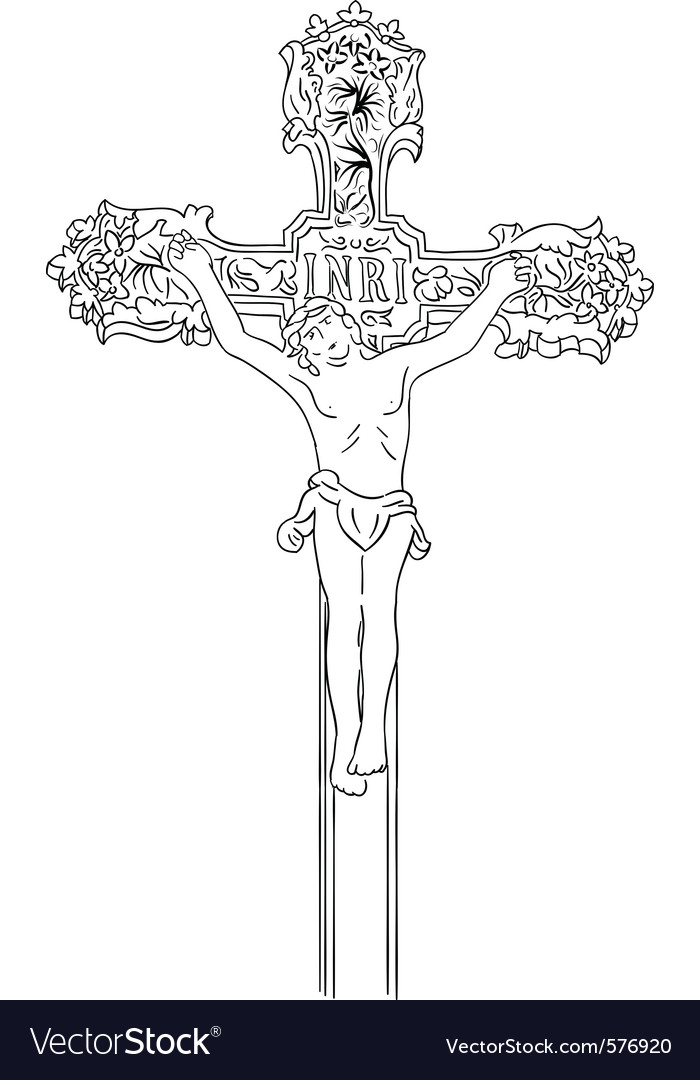 Simple black sketch of crucified vector image