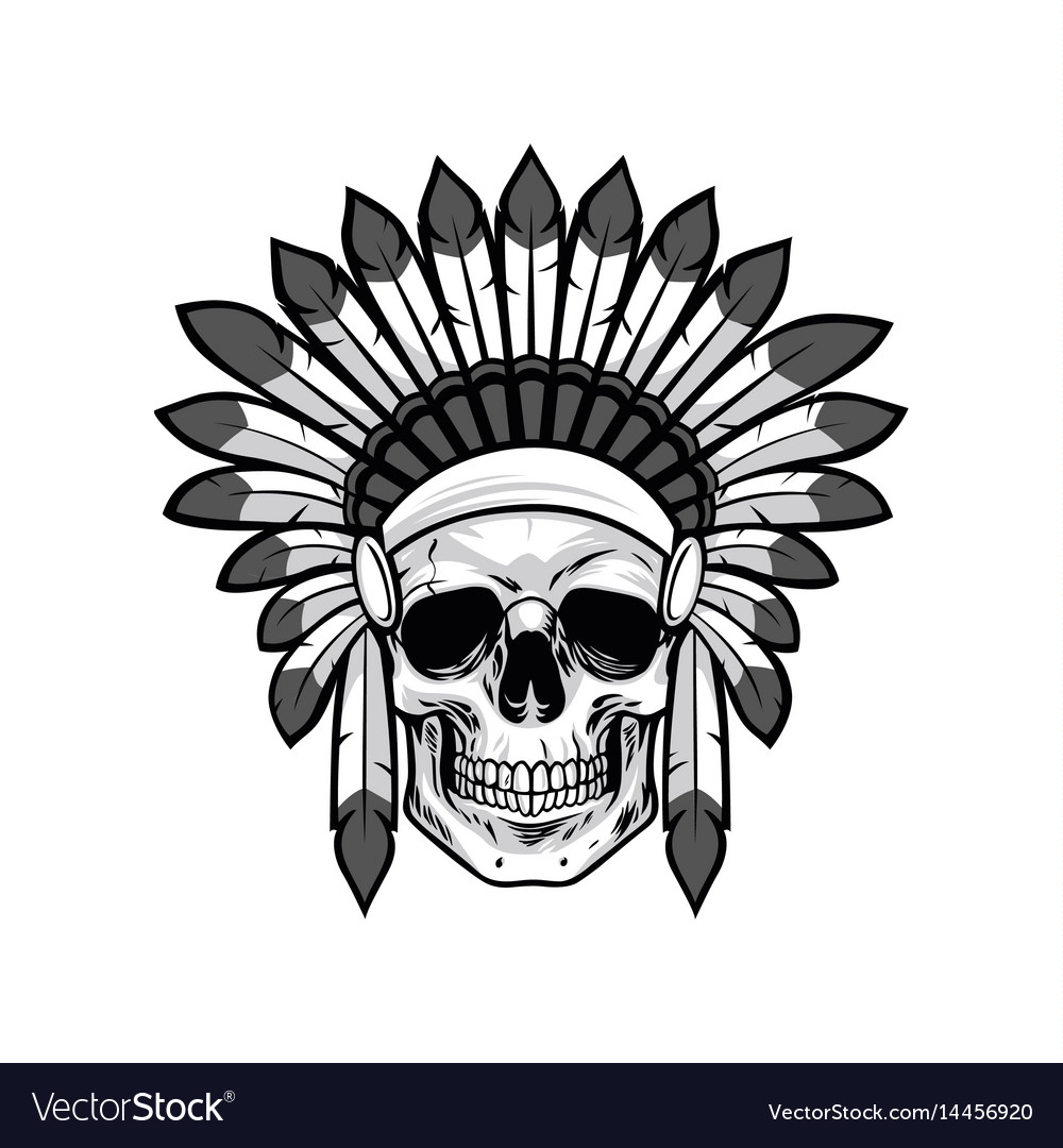 Skull of native american warrior drawing vector image
