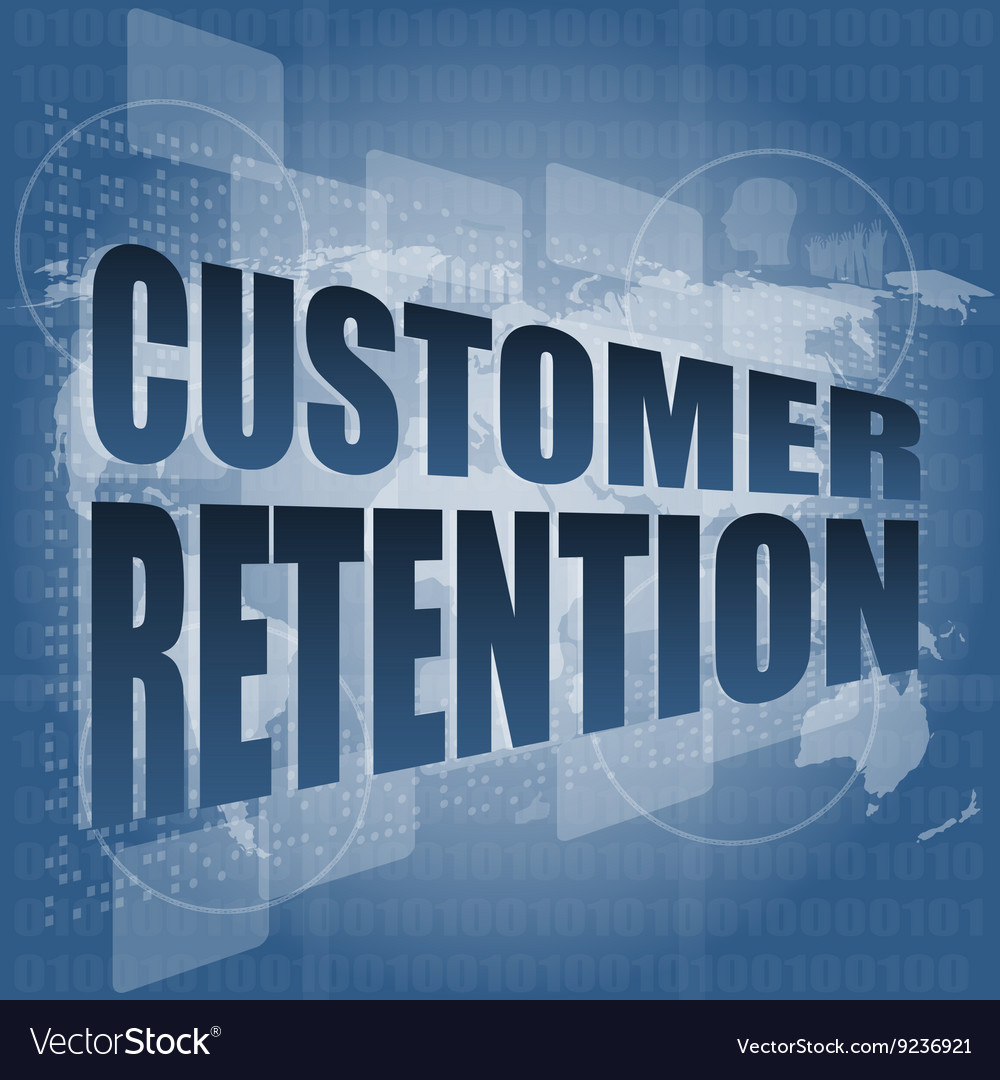 Customer retention word on business digital screen vector image