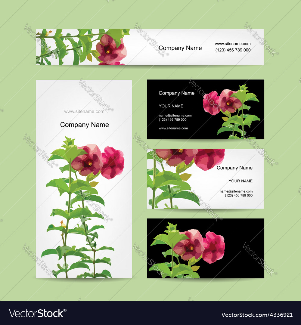 Floral business card design Royalty Free Vector Image