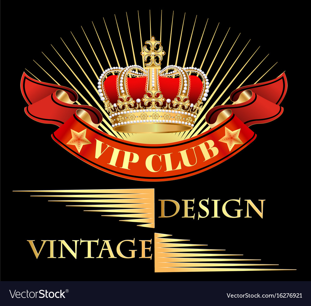 Vintage background with crown and ribbon with vector image