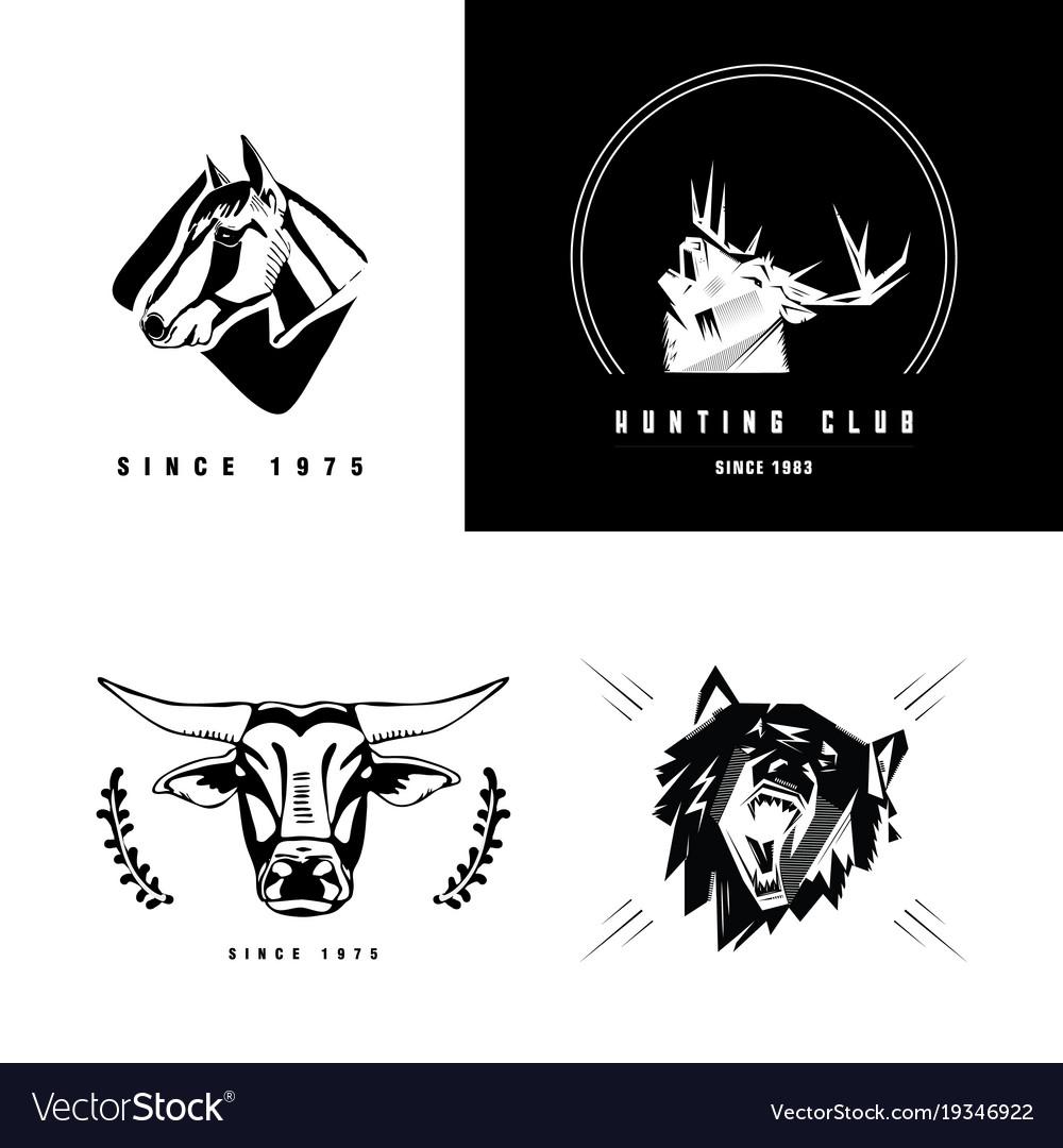 Emblem sign symbol of animals heads heads vector image biocorpaavc Choice Image