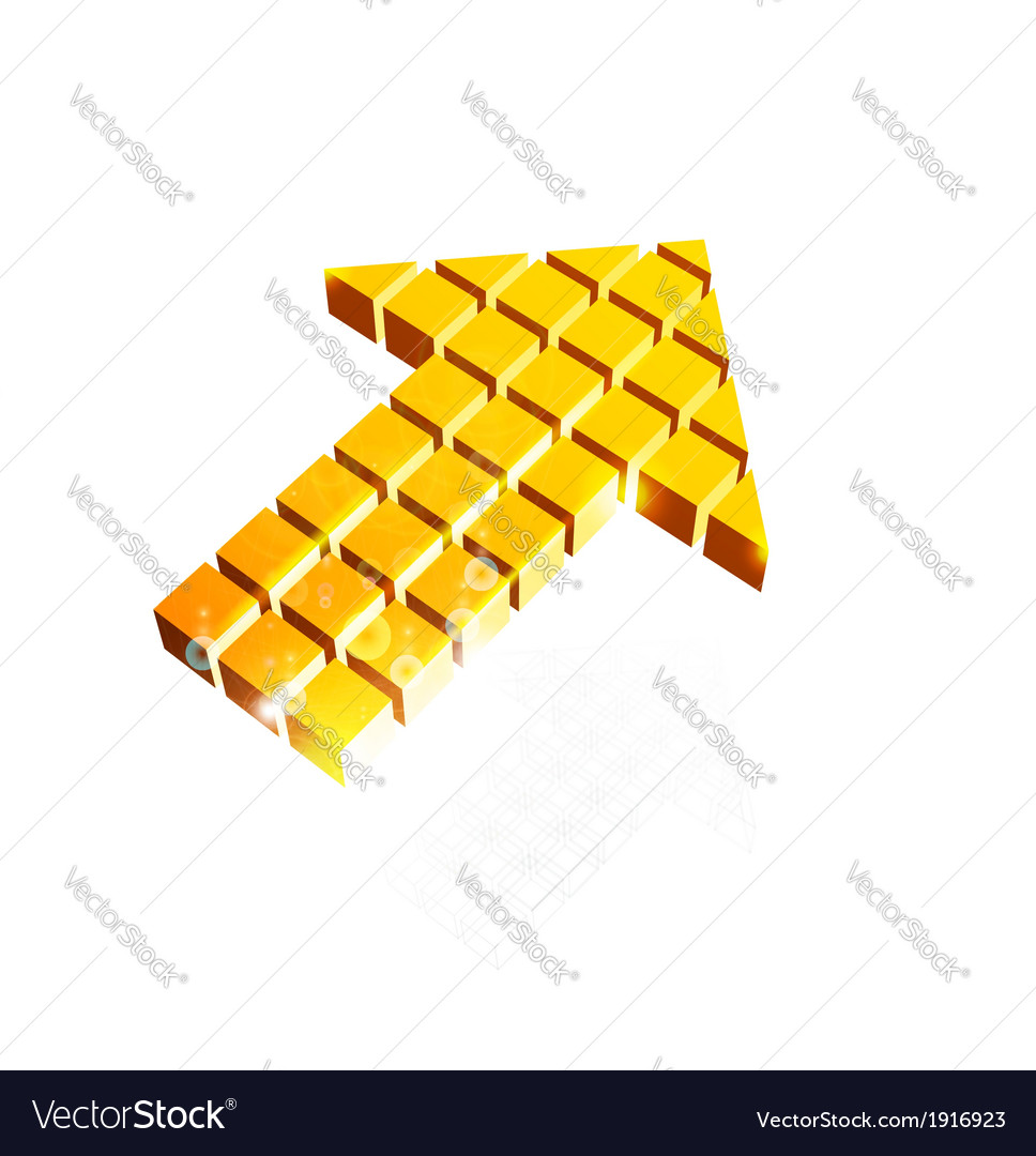 Arrow icon made of orange cubes vector image