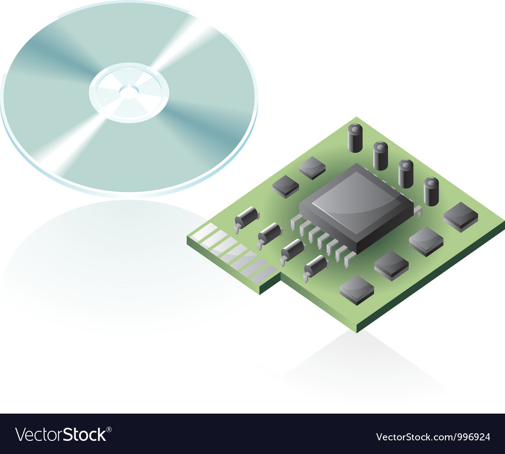 Isometric icons of computer parts vector image