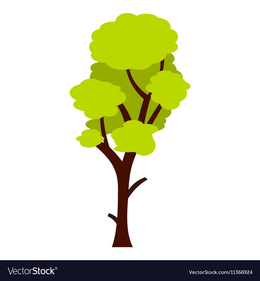 Tall green tree icon flat style vector image