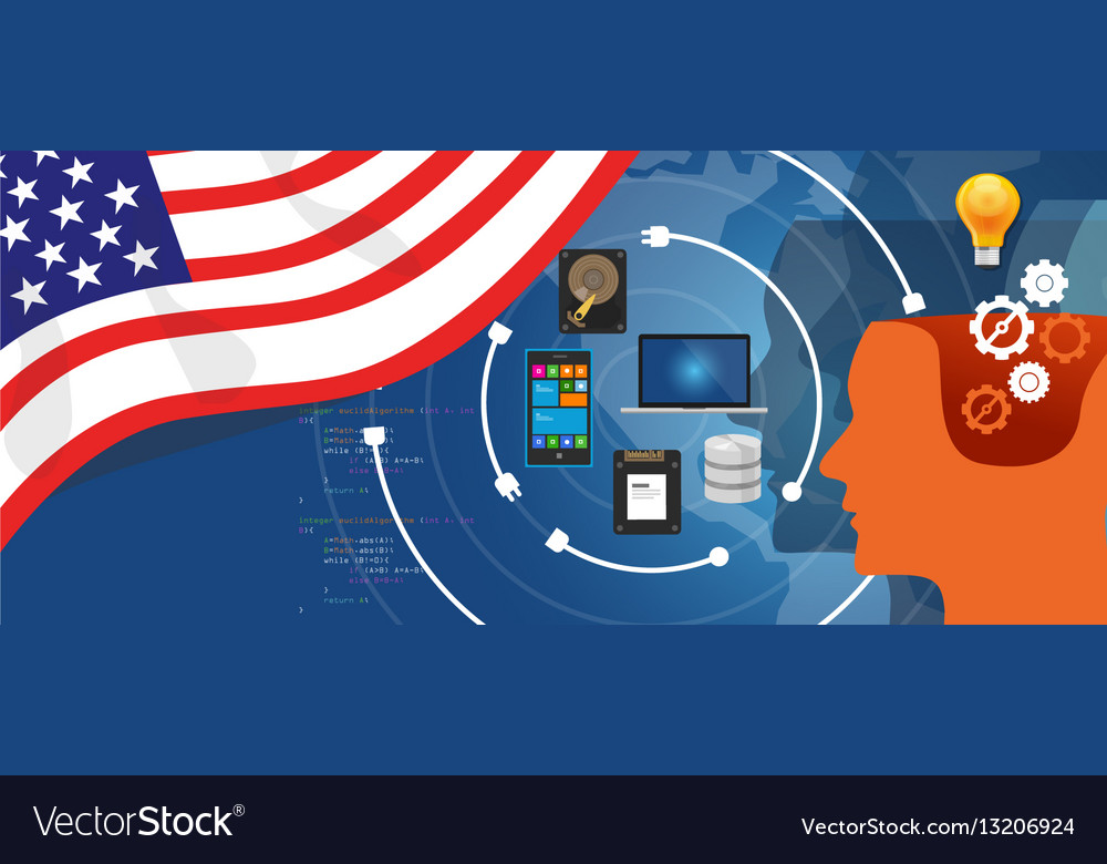 Usa america it information technology digital vector image