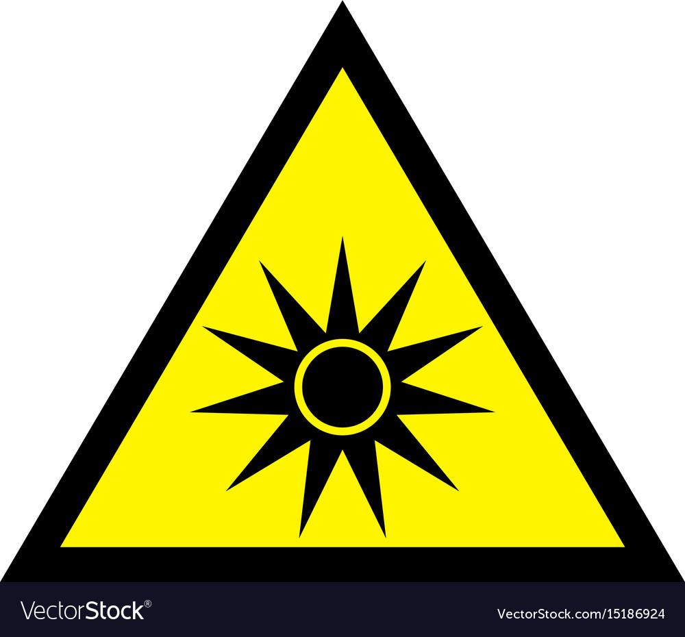 Uv yellow safety sign - uv warning sign vector image
