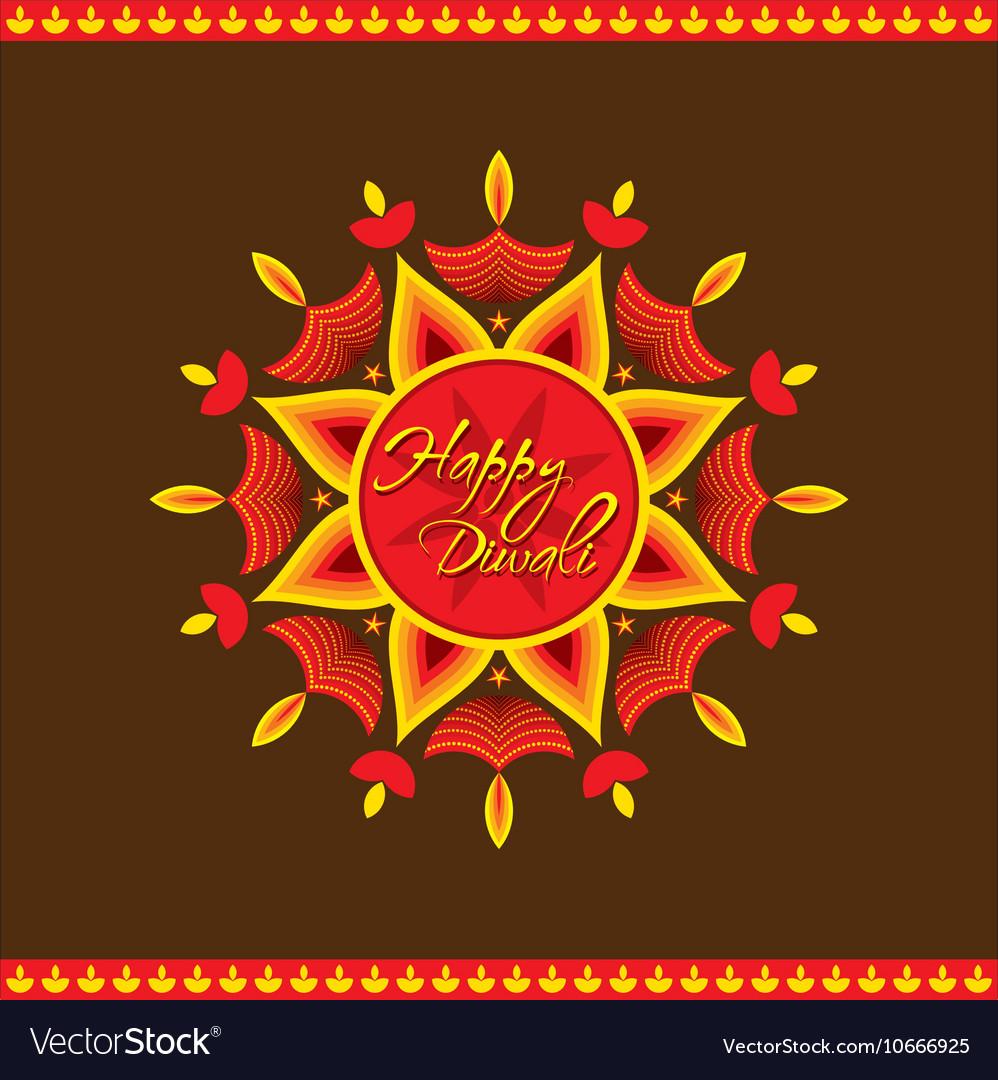 Creative happy diwali greeting card design vector image