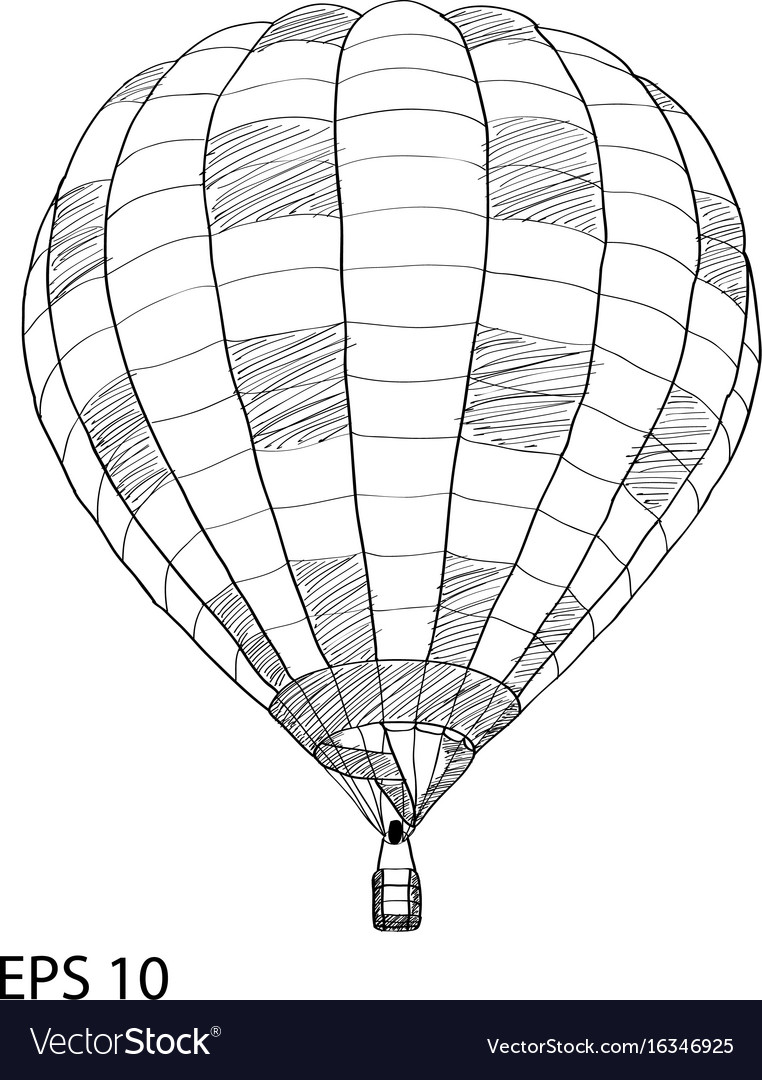 hot air balloon sketch up line eps 10 vector image