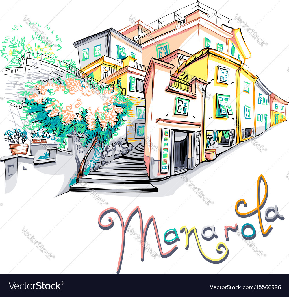 Colorful houses in manarola ligury italy vector image