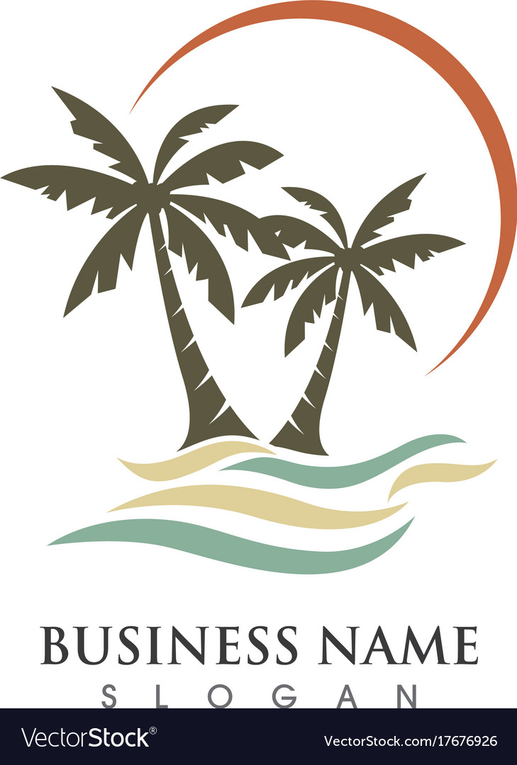 Palm tree summer logo vector image