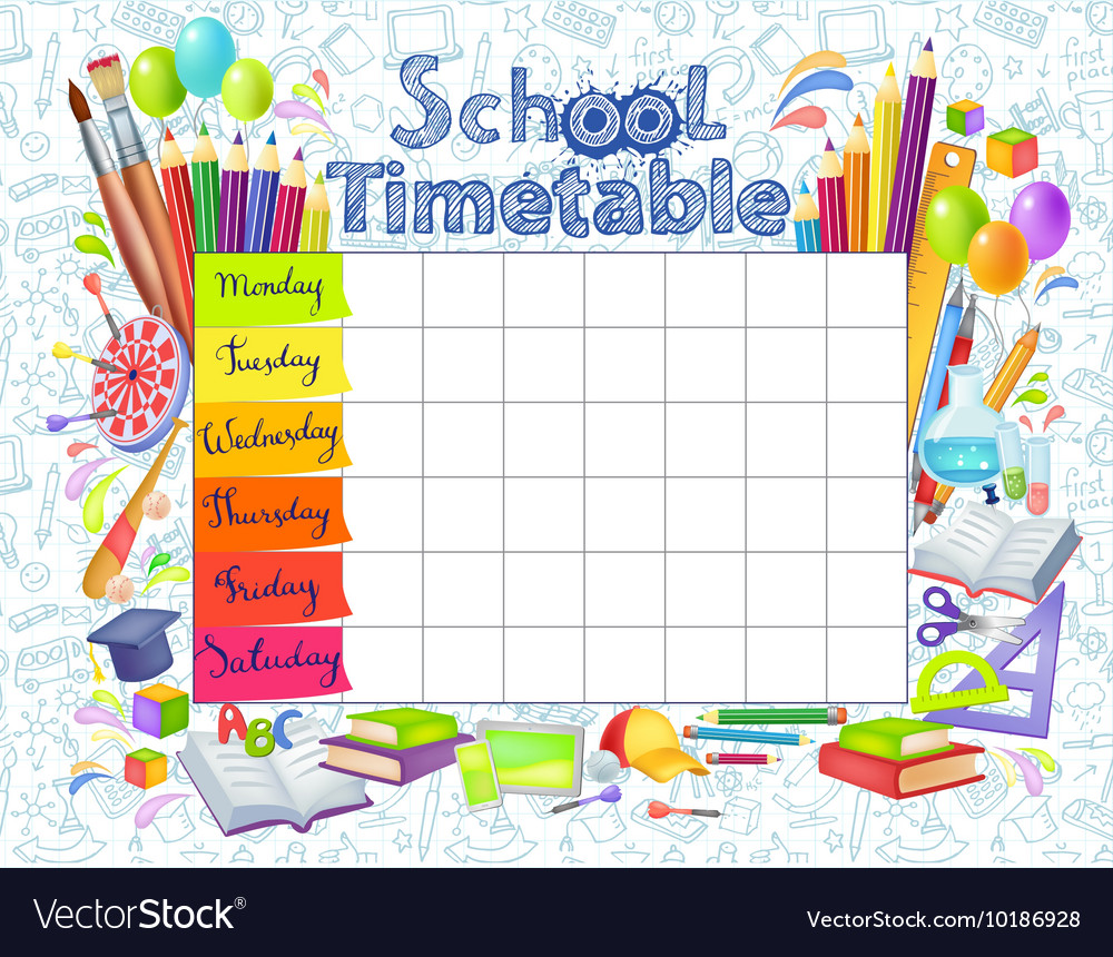 Template school timetable 2016-2017 Royalty Free Vector