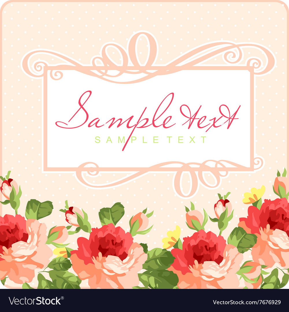 Beautiful Greeting card with frame and pink roses vector image