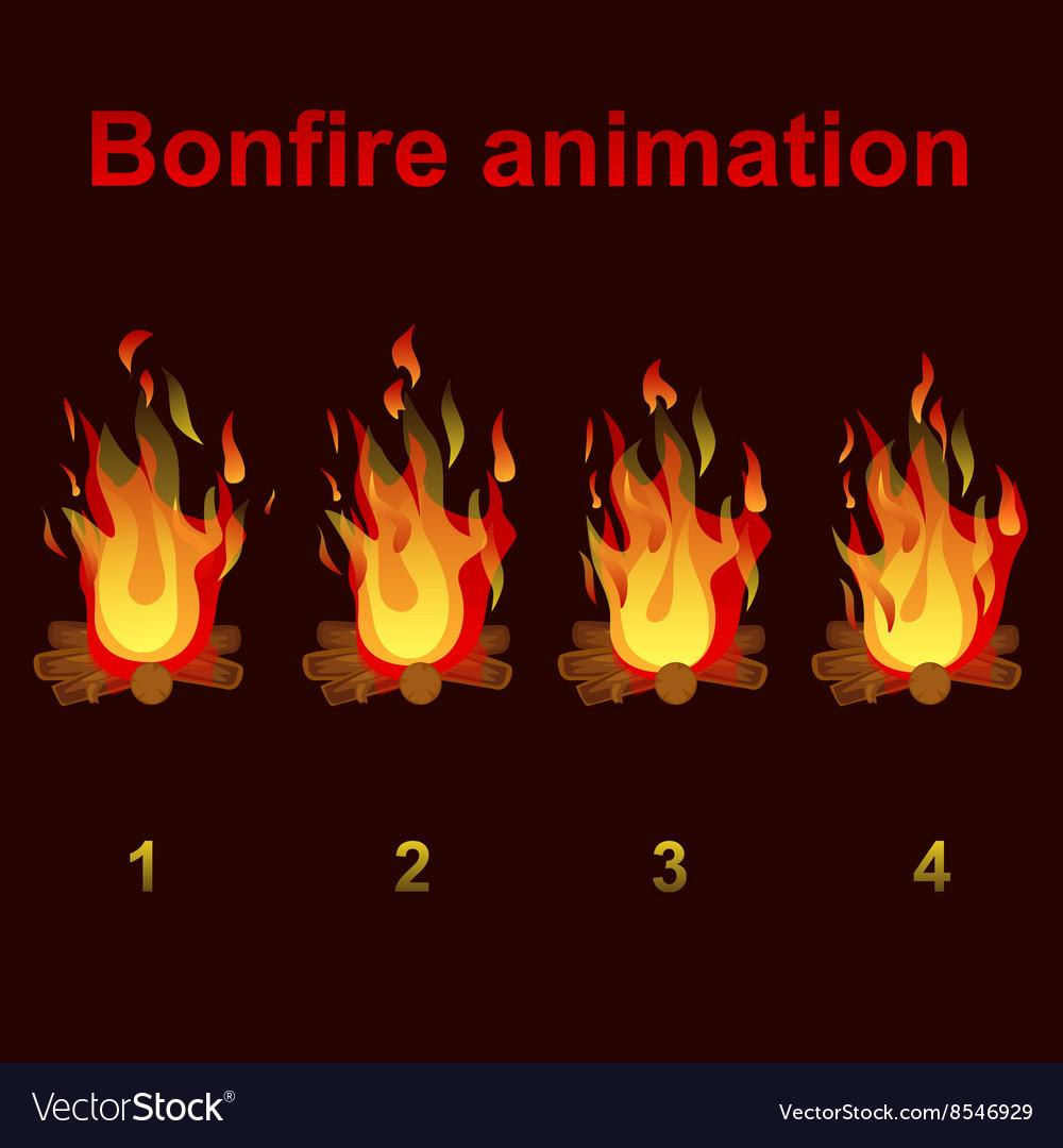 Bonfire animation sprites for game design vector image