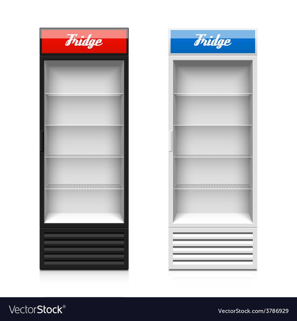 Glass door display fridge vector image