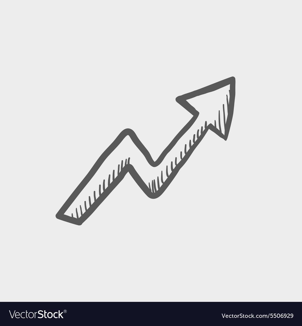Lightning arrow upward sketch icon vector image