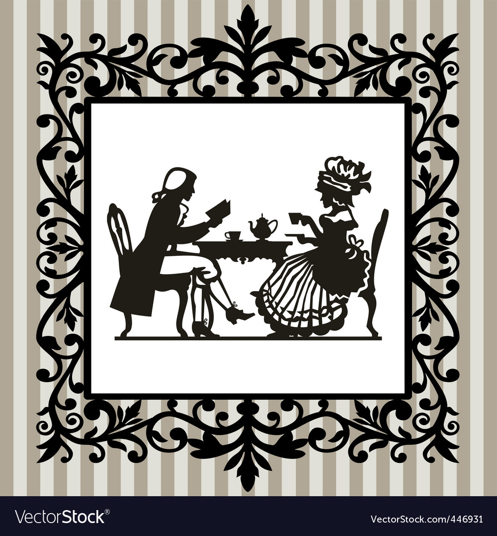 Tea time with frame vector image