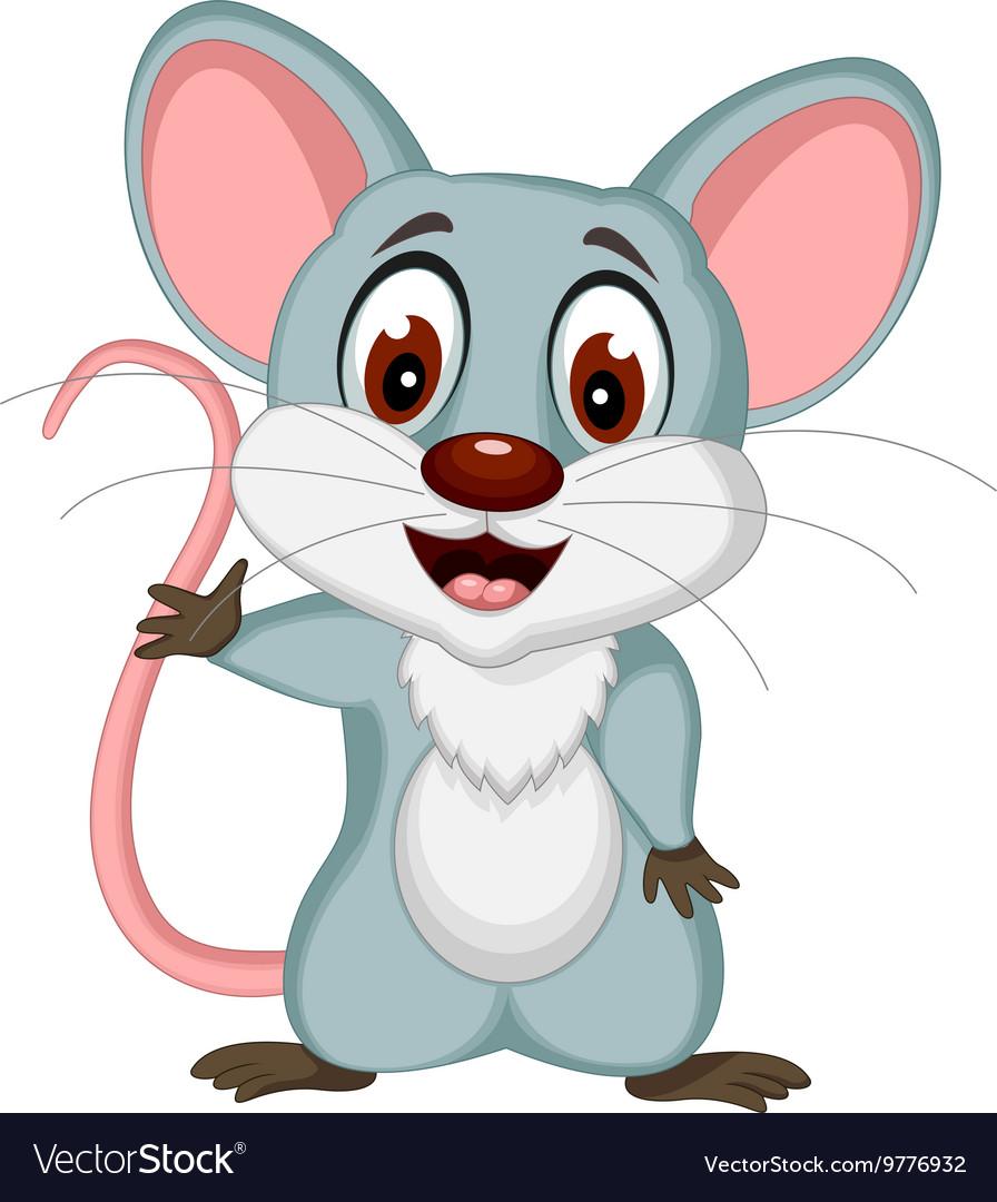 Happy mouse cartoon posing vector image