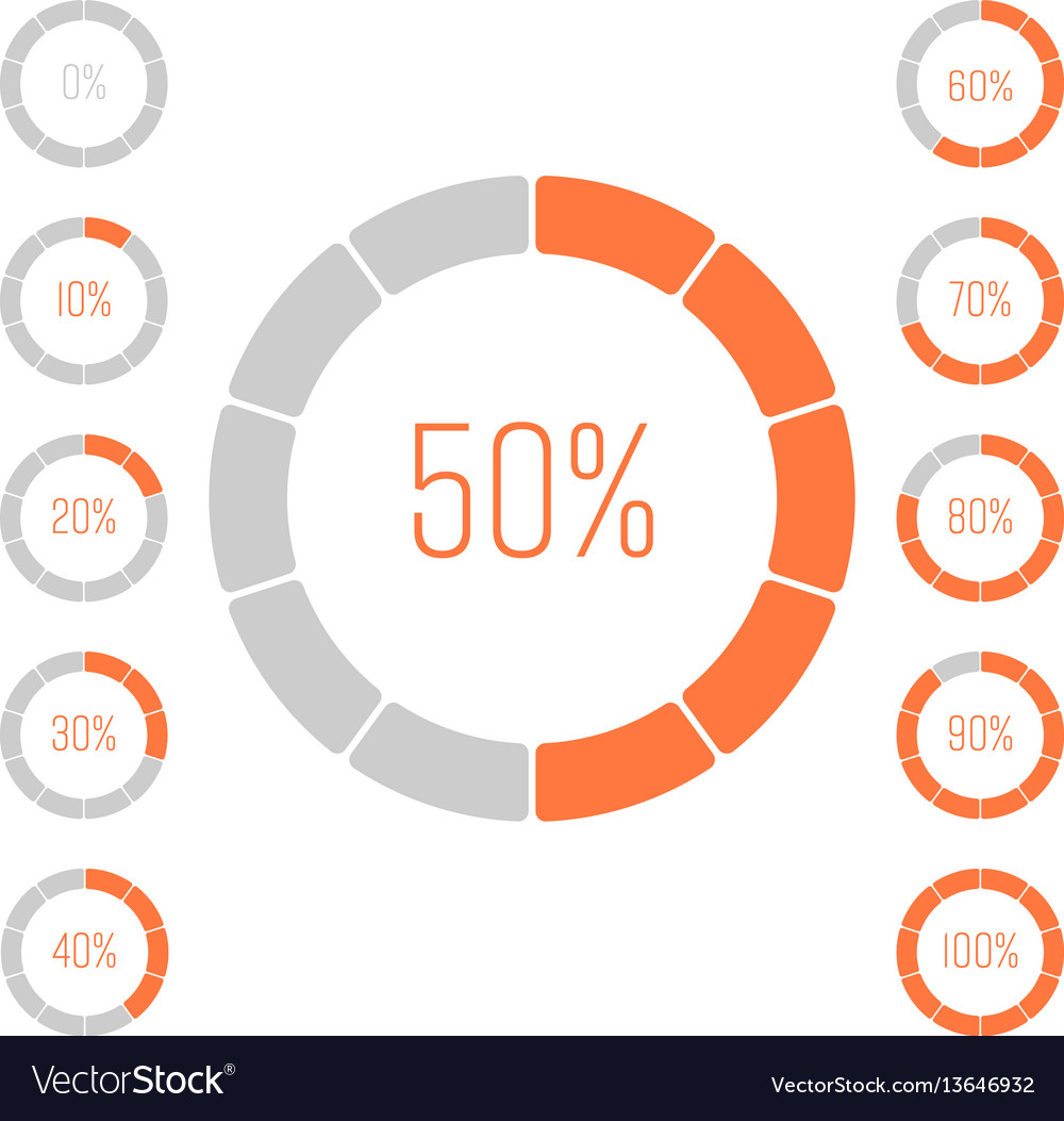Set of ring pie charts with percentage value vector image nvjuhfo Image collections