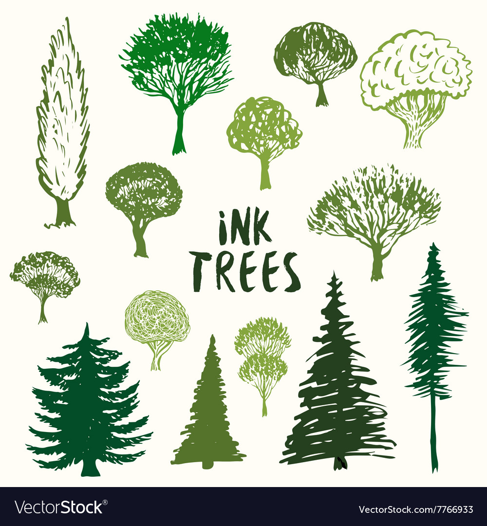 Green trees silhouette collection Hand vector image