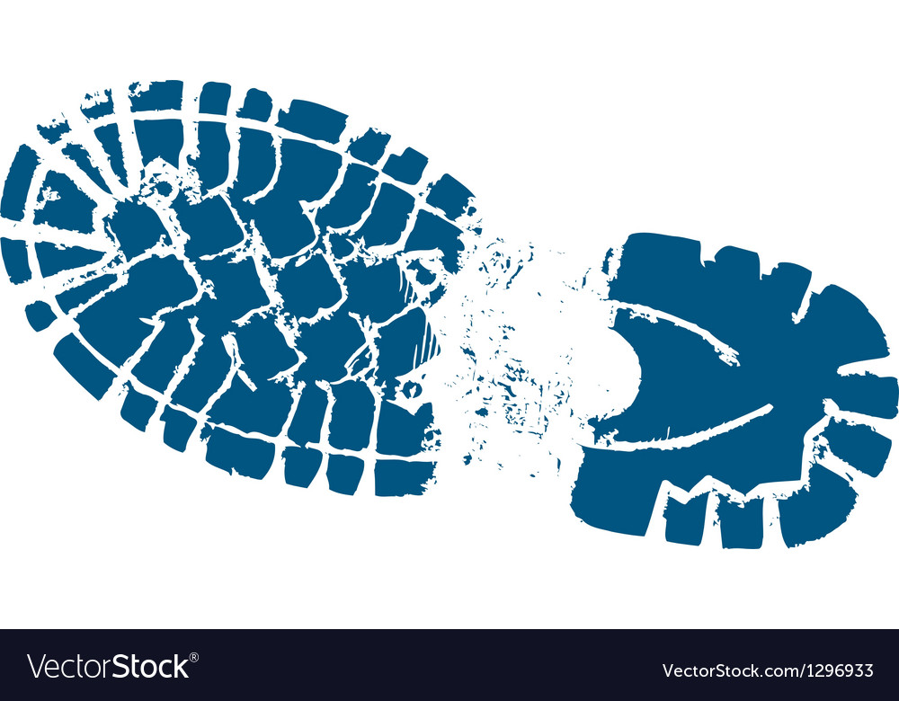 Hiking boot track vector image