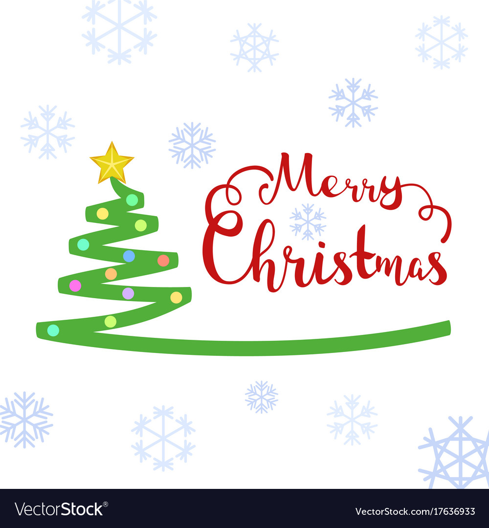 Merry christmas text with christmas tree vector image kristyandbryce Image collections