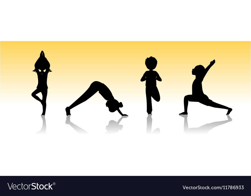 Yoga kids Asanas poses silhouette vector image