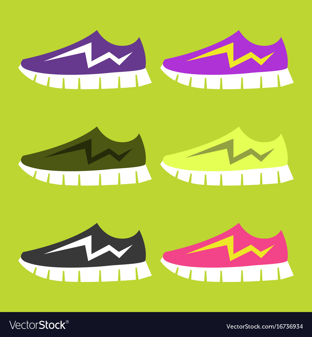 Bright sport sneakers set flat editable vector image
