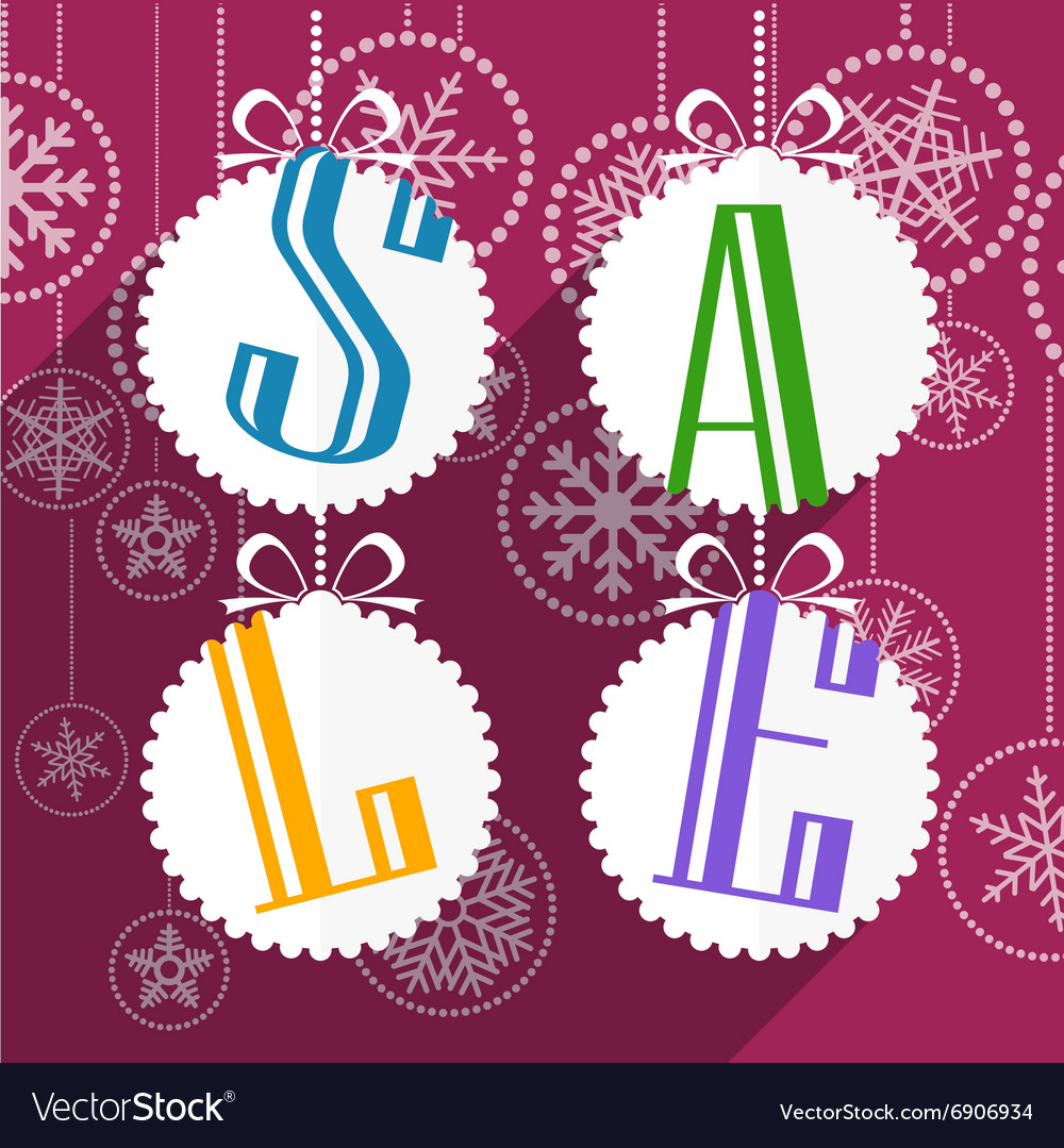 Christmas sale card with white christmas bauble vector image