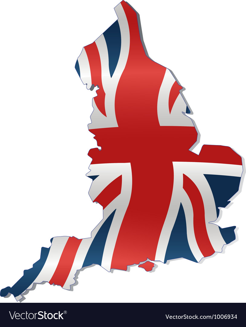 UK Map with British Flag Royalty Free Vector Image