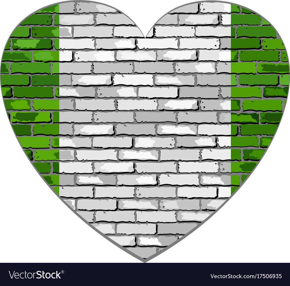 Flag of nigeria on a brick wall in heart shape vector image