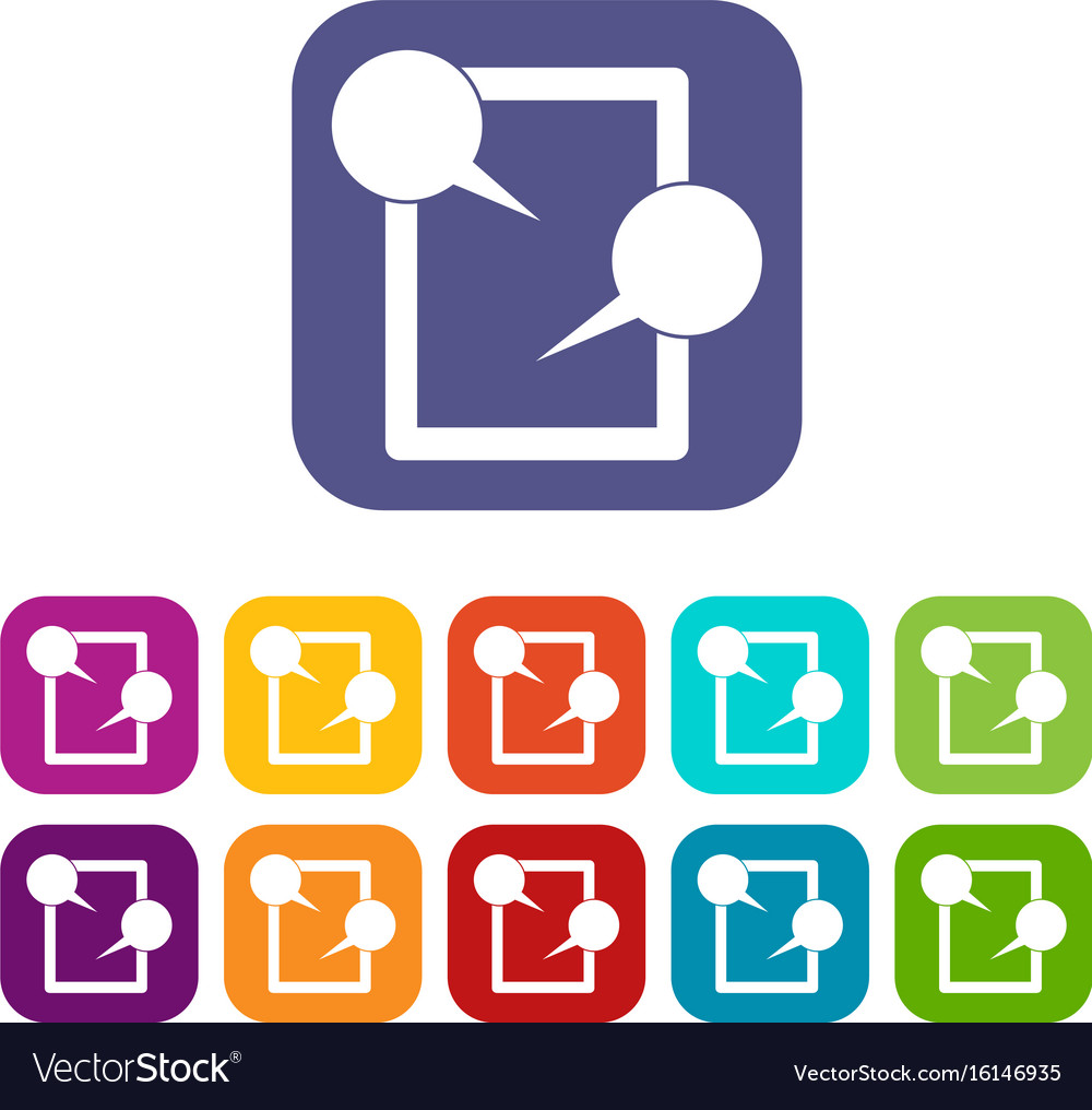 Tablet chatting icons set vector image