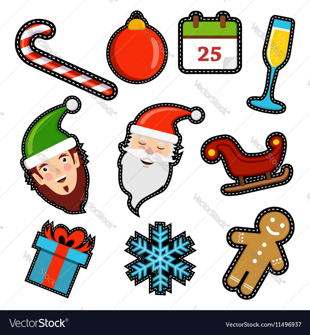 Christmas icon patch set of holiday decoration vector image