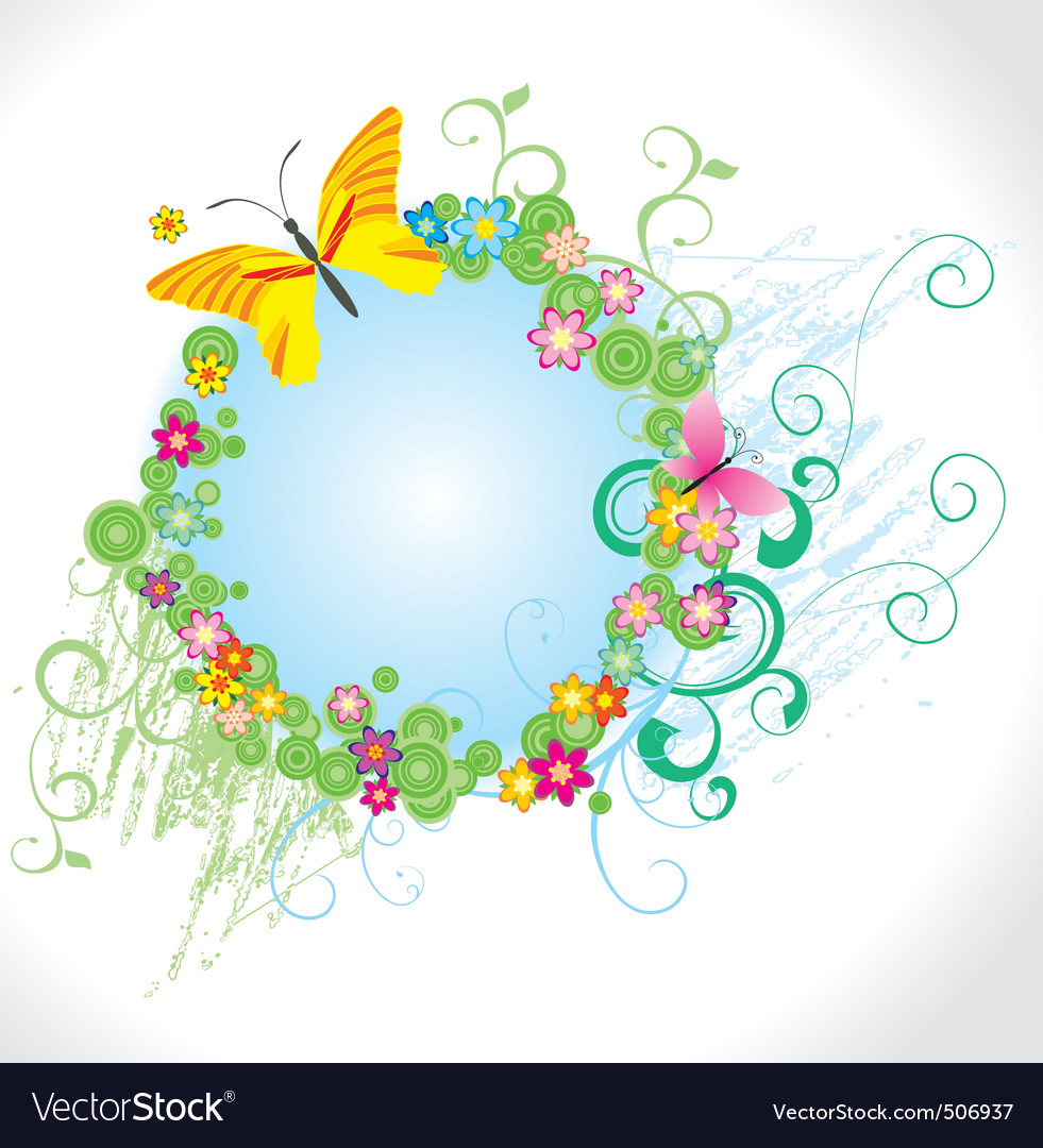 flowers and butterfly round frame royalty free vector image