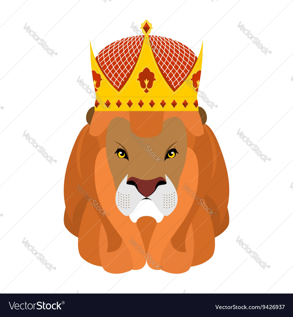 Lion King and crown Head of a predator with shaggy vector image
