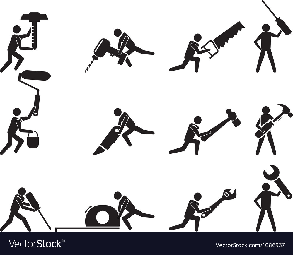 Repairman with tools icons set vector image