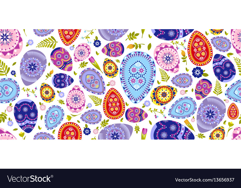 Seamless pattern happy easter background colored vector image
