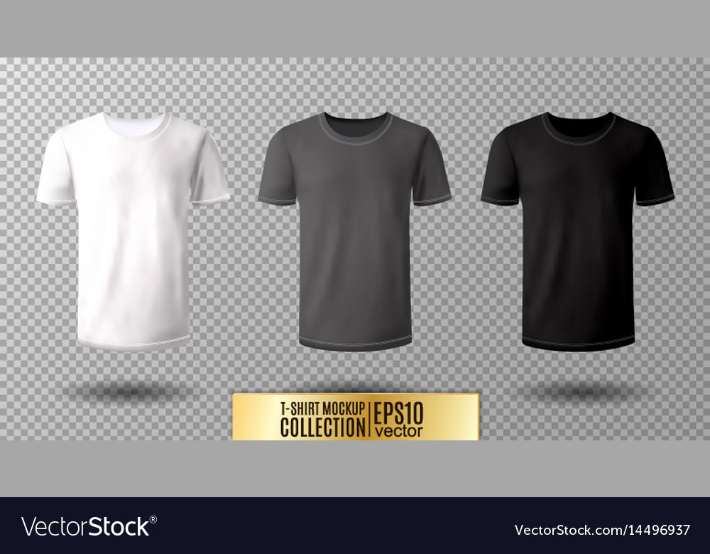 Shirt Mock Up Set TShirt Template Black Gray Vector Image