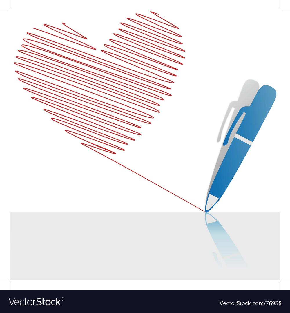 Ink pen drawing vector image