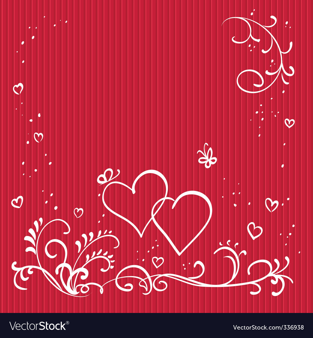 Red valentine background with hearts vector image