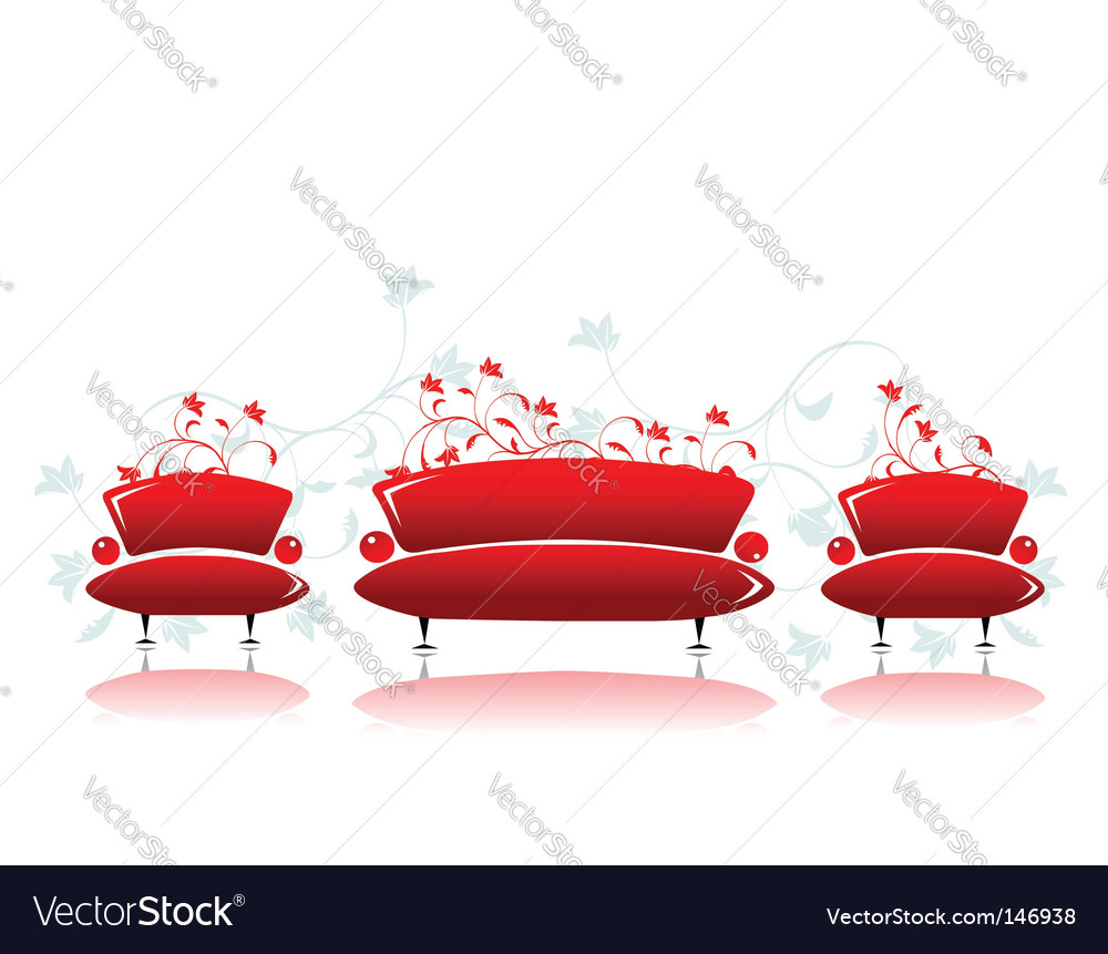Sofa and armchair red design vector image