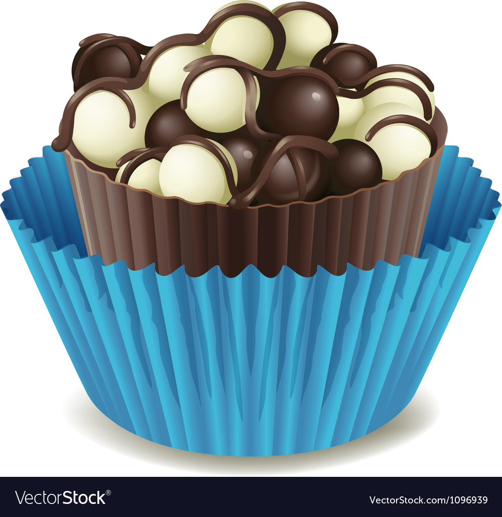 Chocos in blue cup vector image