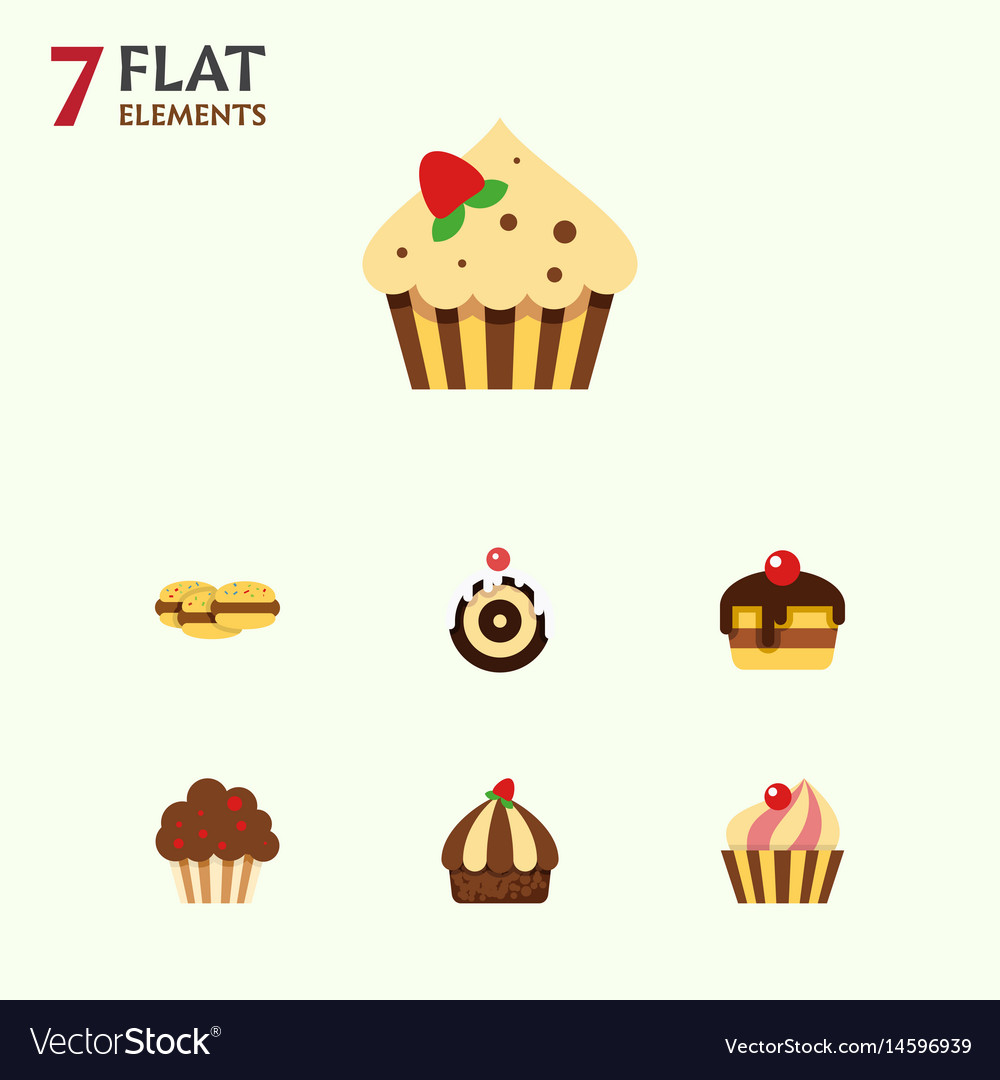 Flat cake set of sweetmeat cupcake dessert and vector image