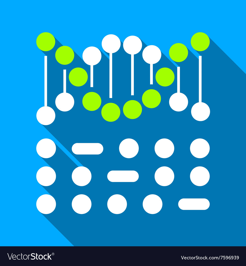 Genetic Binary Code Flat Long Shadow Square Icon vector image