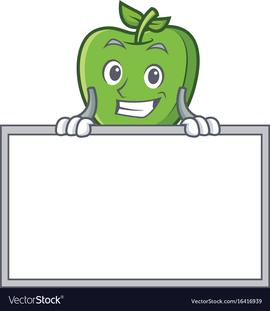 grinning green apple character cartoon with board vector image