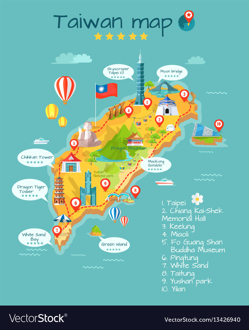 Taiwan map with sightseeing taipei chiang kaishek