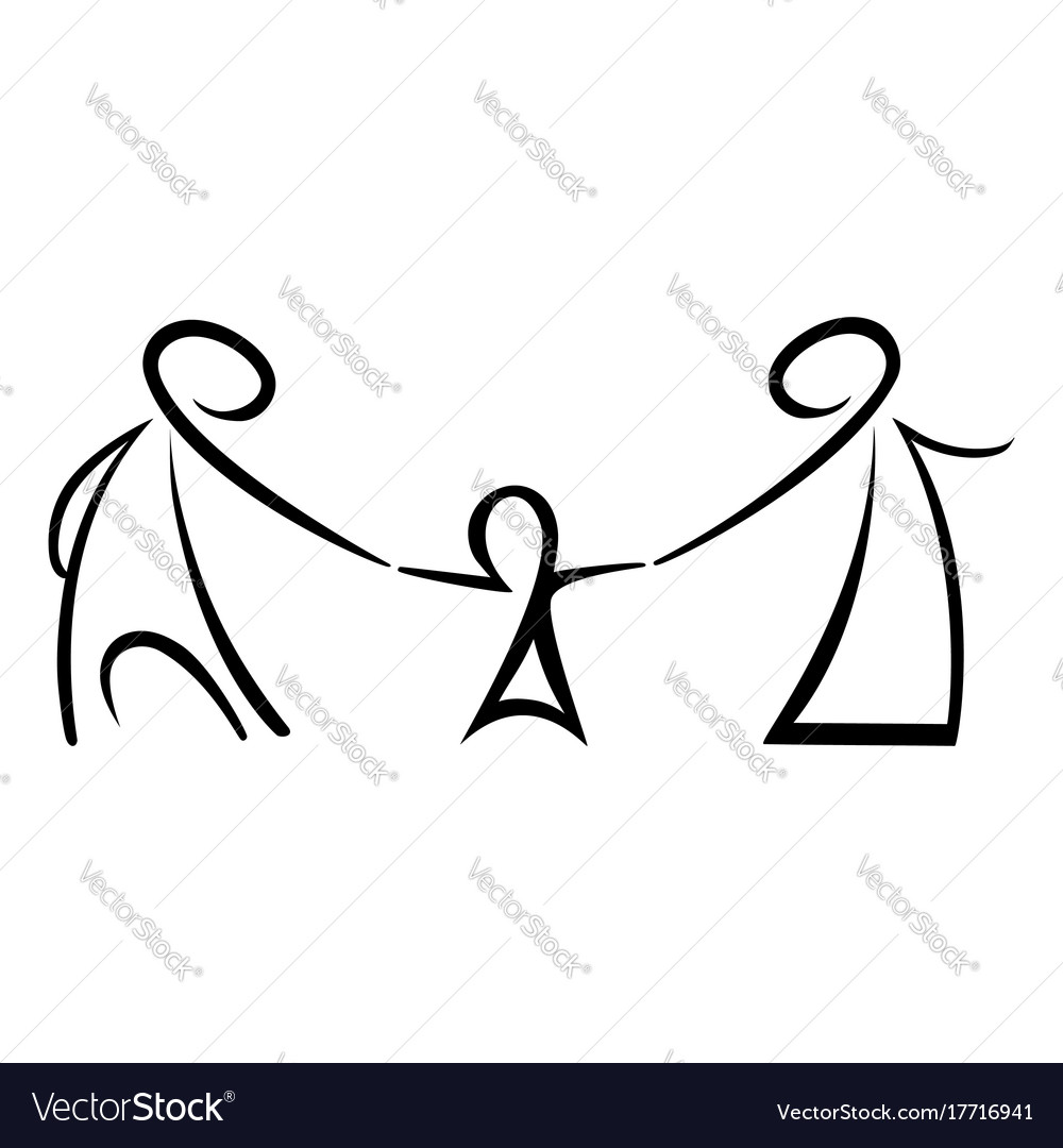 Stick figures happy family vector image