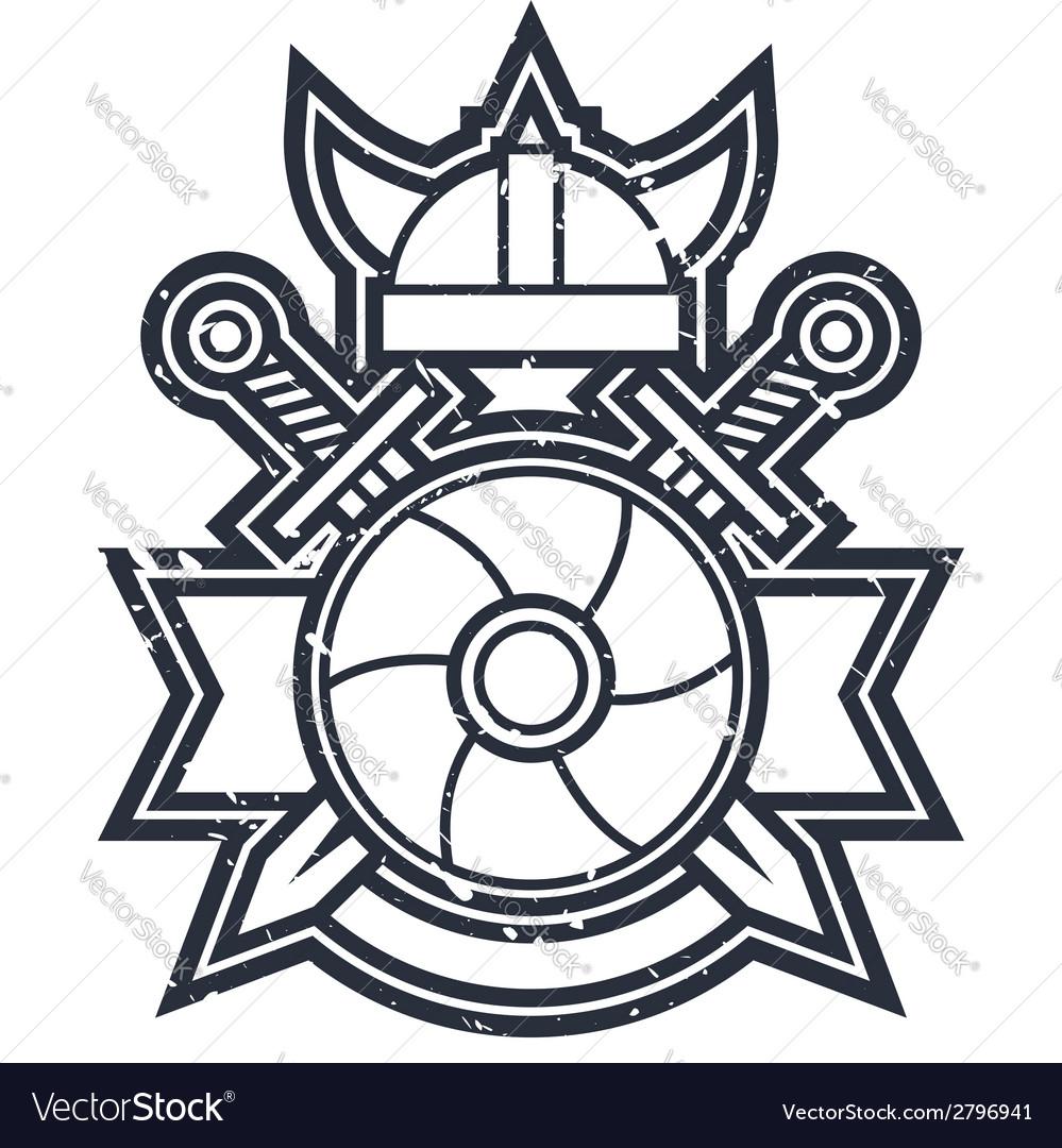Swords and shield icon vector image