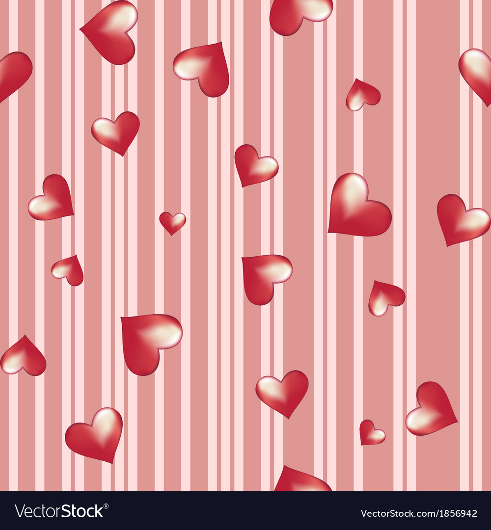 Hearts on a striped background Vector Image