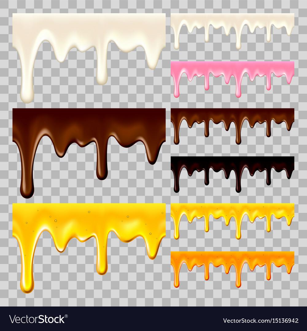 Flowing chocolate honey and milk set vector image